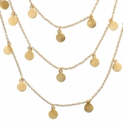 Ayla's 60 in. Brushed Gold Plated Dangle Disc Layered Necklace