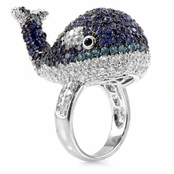 Baby Beluga's Whale Cocktail Ring - Silver Tone