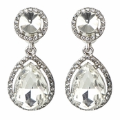 Bailey's Silvertone Rhinestone Peardrop Clip-on Earrings