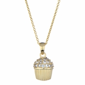 Baker's CZ Pave cupcake Necklace - Goldtone