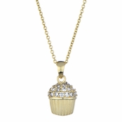 Baker's CZ Pave cupcake Necklace - Gold Plated