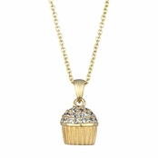 Baker's CZ Pave cupcake Necklace - Goldtone (With Back)