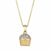 Baker's CZ Pave cupcake Necklace - Gold Plated (With Back)