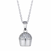 Baker's CZ Pave Cupcake Necklace (With Back)