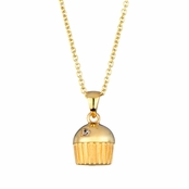 Baker's Single Stone Goldtone Cupcake Necklace (With Back)