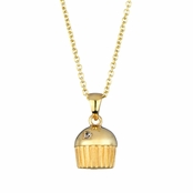 Baker's Single Stone Gold Plated cupcake Necklace (With Back)
