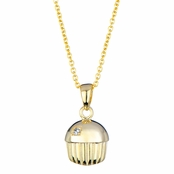 Baker's Goldtone Cupcake Charm Necklace - Single Stone