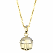 Baker's Single Stone Gold Vermeil Cupcake Charm Necklace