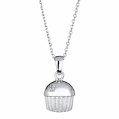 Baker's Single Stone Sterling Silver  cupcake Necklace