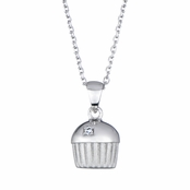 Baker's Single Stone Silvertone Cupcake Necklace (With Back)