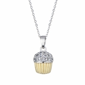 Baker's Two Tone CZ Cupcake Necklace