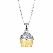 Baker's Two Tone CZ Cupcake Necklace (With Back)