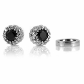 Bea's Non Pierced Magnetic Earrings - Black CZ Studs