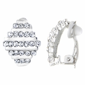 Beatrice's Silver Tone Diamond Rhinestone Clip On Earrings