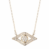 Behati's 18 Inch Gold Plated CZ Evil Eye Charm Necklace
