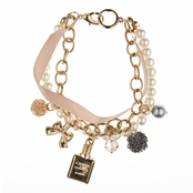 Benicia's Rose Goldtone and Imitation Pearl Designer Inspired Charm Bracelet