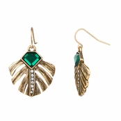 Bernadette's Elegant Simulated Emerald Leaf Inlay Dangle Earrings