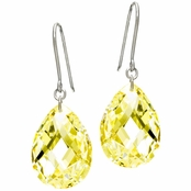 Simulated Canary Crystal Briolette Drop Earrings