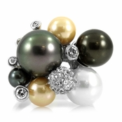 Bex's Cubic Zirconia & Imitation Pearl Cluster Cocktail Ring