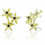Bina's Flower Cluster Stud Earrings - Canary