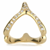 Birch's Wishbone Ring- Goldtone/Pave CZs