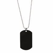 Miles' Black Dog Tag Necklace - 24 inches
