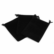 Black Velour Large Gift Pouch Set of 3 - 4 Inches