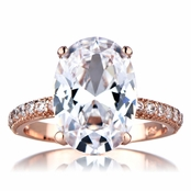 Blush Oval Cut 5 Carat Rose Goldtone CZ Engagement Ring