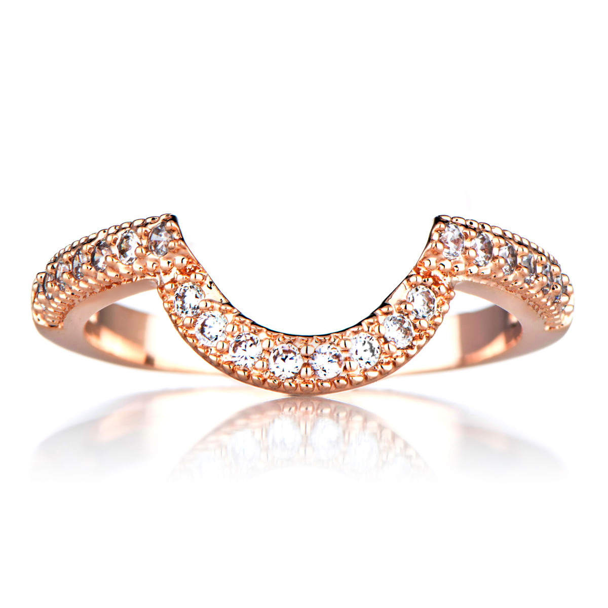 Rose Gold Cubic Zirconia Wedding Band