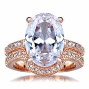 Blush Oval Cut 5 Carat Rose Goldtone CZ Wedding Ring Set