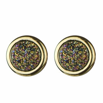 Blakely's Goldtone Simulated Drusy Quartz Stud Earrings - Golden Dust