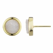 Blakely's White Stone Goldtone Stud Earrings