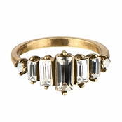 Blanche's Geometric Rhinestone Antique Gold Ring