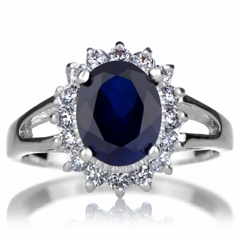 Blue CZ Royal Engagement Ring: Sterling Silver