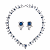 Bonnie's Fancy Sapphire CZ Necklace and Earrings Set