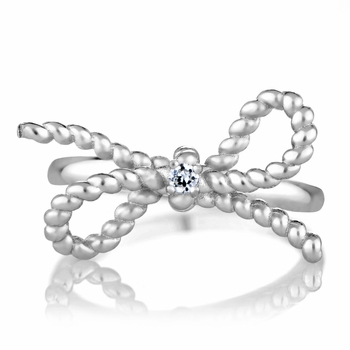 Bow Promise Ring - Silvertone Remember Bow