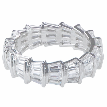 Brandy's Silver Plated Cubic Zirconia Eternity Ring Band