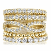 Brenna's Set of 5 Stackable Rings - Goldtone