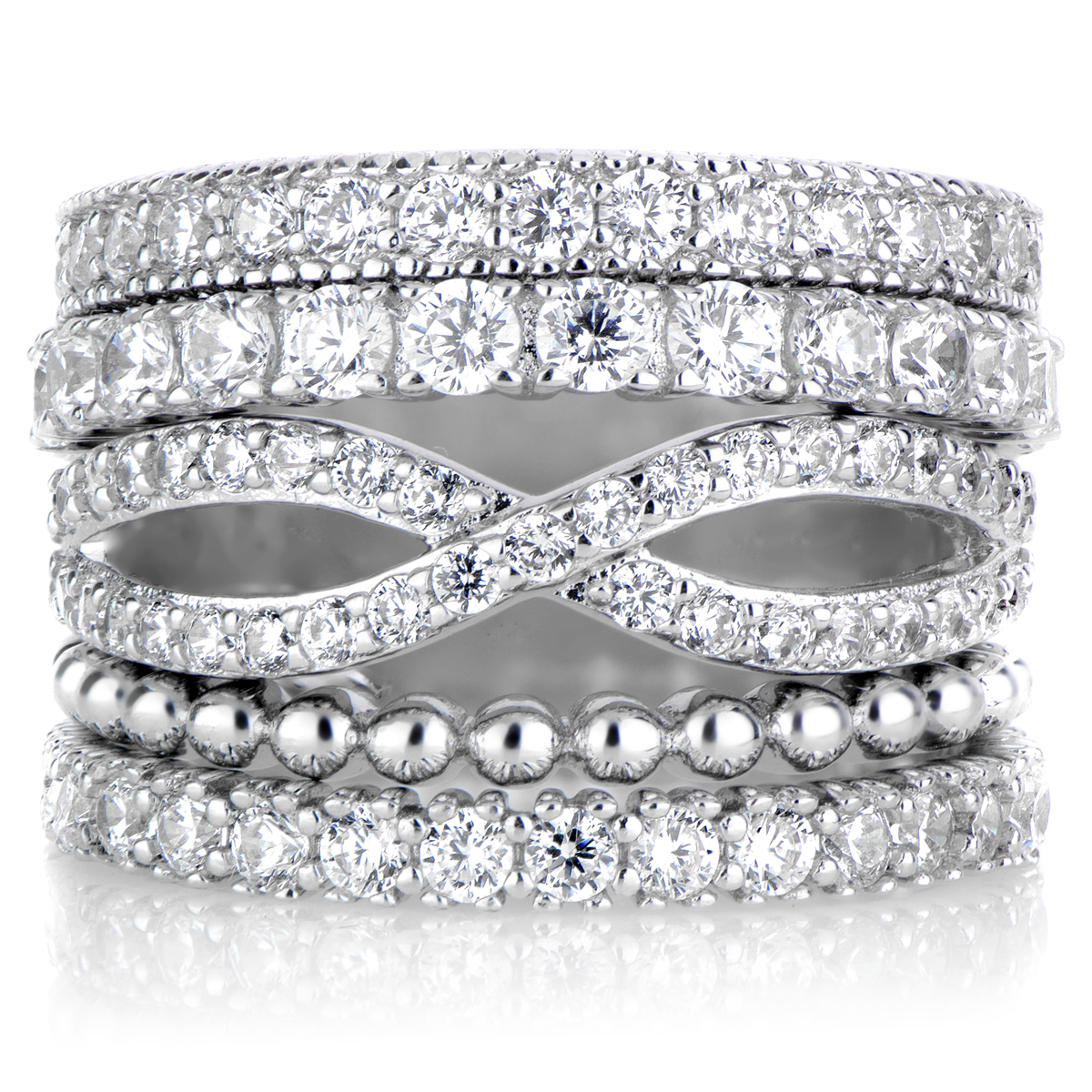 brenna s set of 5 stackable rings silvertone
