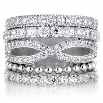 Brenna's Set of 5 Stackable Rings - Silvertone