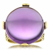 Briar's Genuine Amethyst Cabochon Cocktail Ring - Gold