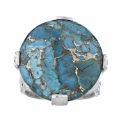 Briar's Blue Stone Cabochon Cocktail Ring - Silvertone