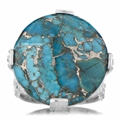 Briar's Genuine Blue Copper Turquoise Cabochon Cocktail Ring - Silver