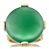 Briar's Genuine Green Onyx Cabochon Cocktail Ring - Gold