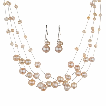 Bridal Jewelry: Cormia's Freshwater Cultured Pearl Jewelry Set - Pink
