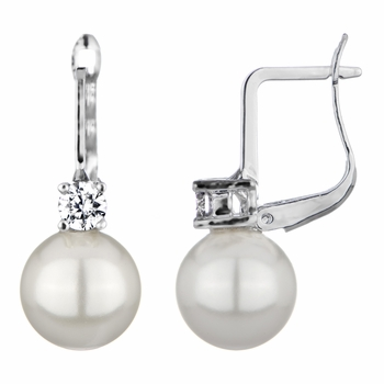 Kim's Imitation Pearl Leverback Bridal Earrings