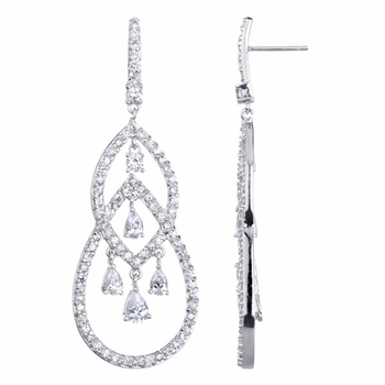 Bridesmaid Earrings: Boisseau Pear CZ Chandelier Earrings