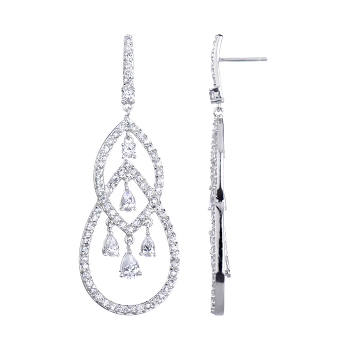 Bridesmaid Earrings Boisseau Pear CZ Chandelier Earrings – Cz Chandelier Earrings