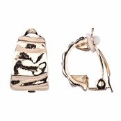 Bridget's Gold Textured Half Hoop Clip On Earrings