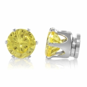 Brinkley's Round Cut Canary CZ Non Pierced Magnetic Earrings - 6mm